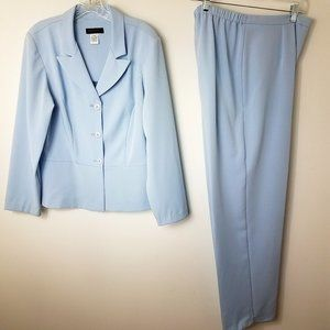 Women's Blue Peplum Blazer Jacket Pant Suit Set